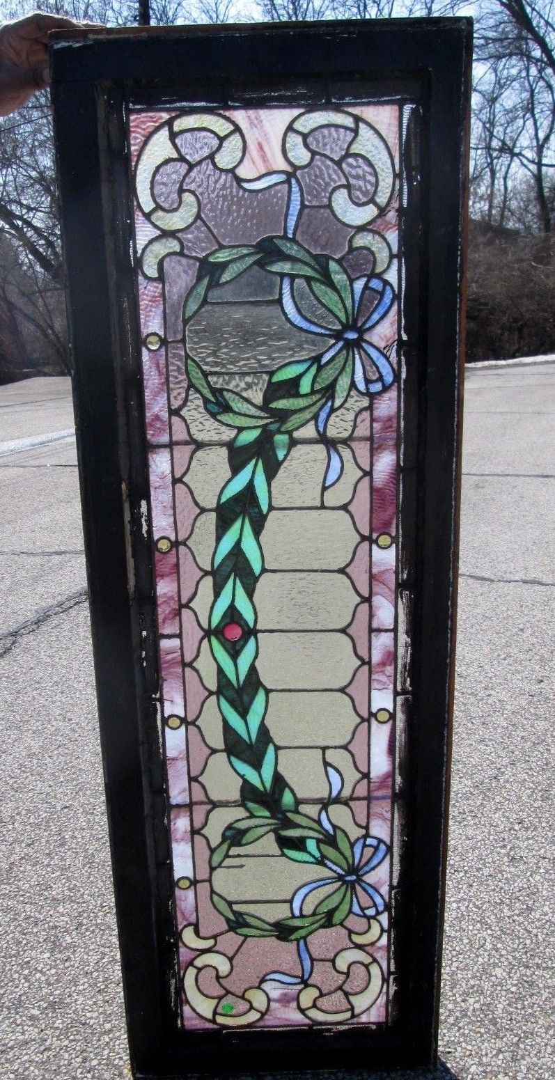 Sensational Antique Arts Amp Crafts Stained Glass Transom