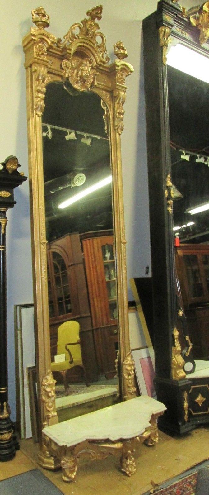 Huge 11 Antique Victorian Italianate Pier Mirror W Eagle