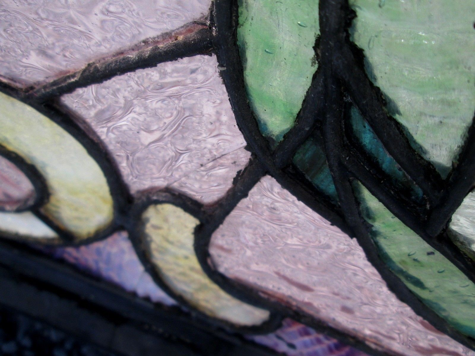 Arts and crafts jewels - Sensational Antique Arts Crafts Stained Glass Transom Window W 7 Jewels 315